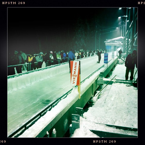 At the starting line, awaiting the bobsleigh event