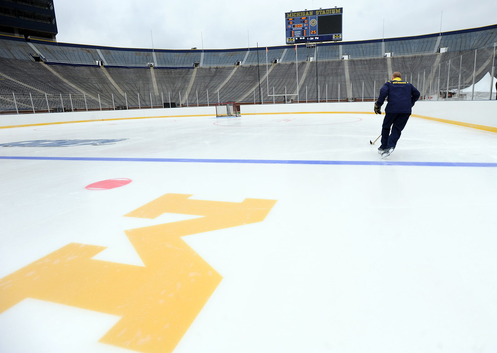 Michigan hockey coach Red Berenson tests out the Big Chill ice rink, 12.2.10