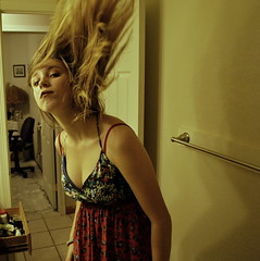 In a Rush (Alexis Snyder) Tags: winter portrait selfportrait fall floral hair bathroom warm action universe