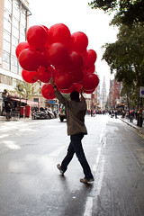 Take off (Che-burashka) Tags: street red people man london balloons crossing citylife places celebration tgif centrallondon londonist canonef28mmf18usm urbanlyric