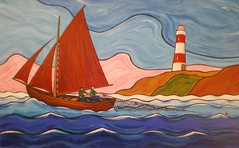 Learning the family trade, by anthony o'hagan. (fromderry) Tags: uk ireland lighthouse art painting boats folkart contemporary paintings northernireland acrylics irishartist
