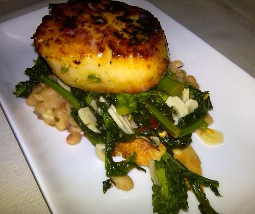 Seared Scallop, white beans, broccoli rabe bruschetta