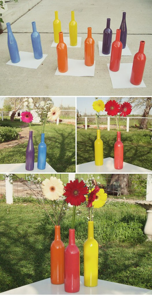 Colored wine bottle DIY