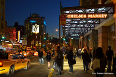 Chelsea Market (Rafakoy) Tags: street city nyc light people urban ny newyork building skyline night digital buildings dark lights chelsea dusk manhattan cab taxi late meatpackingdistrict avenue chelseamarket afsnikkor35mmf18g nikond7000