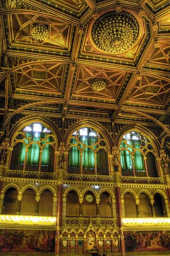 Parliament ceiling. Budapest. Techo del parlamento