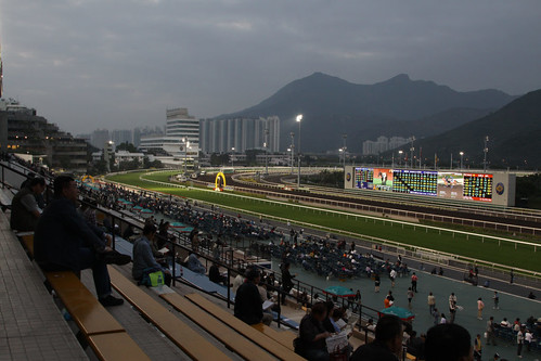 Darkness starts to fall on Sha Tin Racecourse