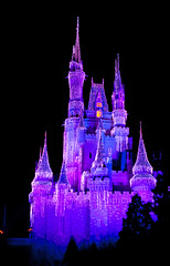 Princess Castle (KyleCare ) Tags: christmas pink houses winter light house black color building castle ice wall skyline night canon buildings lights purple florida towers sigma handheld drawbridge 2010 xti canonxti kylecare ldsphotographers