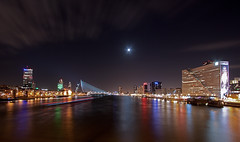 Rotterdam City @ Moonlight (DolliaSH) Tags: city longexposure trip travel bridge winter light vacation urban moon holland color tourism water colors skyline architecture night clouds canon river puente lights noche rotterdam europe long cityscape tour