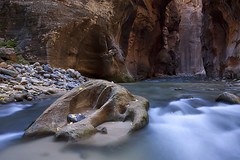 Rock of Ages (Brent McGuirt Photography) Tags: park sculpture water rock river utah ut long exposure canyon erosion virgin national zion narrows