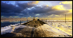 Holy Island Causeway (parsy72) Tags: snow water sunrise northsea holyisland causeway frozensea