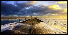 Holy Island Causeway (parsy72) Tags: snow water sunrise northsea holyisland causeway frozensea