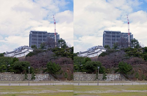 Himeji Castle (2010) under renovation, stereo parallel view