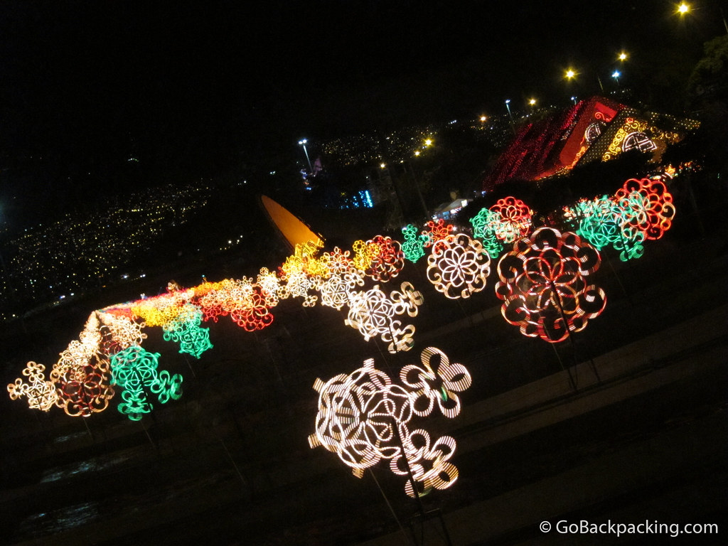 Holiday light display along Rio Medellin