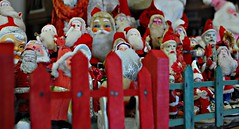 Caged Santas (jackandphyl) Tags: santa christmas collection antiques themered 525of2010