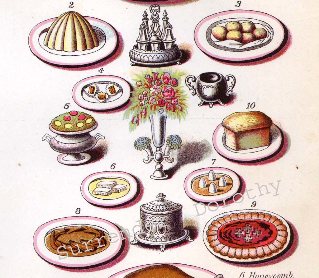 1885 Victorian Breakfast and Luncheon Menu Suggestions Lithograph To Frame (detail)
