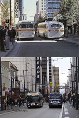 Vancouver - Granville Street 1974/2010 (Busologist) Tags: street new city canada bus buses st vancouver flyer downtown bc granville trolley sears centre columbia british eatons brill ccf e40lfr t48 exsaskatoon