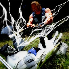Feel the wrath of the mighty Thor! (THE AMAZING KIKEMAN) Tags: street castle america comics frank t toys james fighter sam ultimate ryan hawk bruce steve banner clash xmen captain legends bullseye wilson wade rogers hulk thor hank marvel goliath universe jackman titans perseus wolverine ryu select origins reynolds punisher sota neca worthington howlett pym adon deadpool hugj