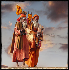 The Patriarchs (designldg) Tags: sky people orange india man square colours faith dream atmosphere soul elder devotion varanasi shiva hindu hinduism marigold kashi saddhu ghats trishul benares benaras uttarpradesh  colorphotoaward