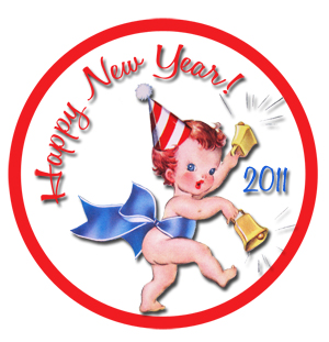 New Year 2011  Freebie Vintage Tag Example