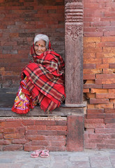 Woman in Reds (cormend) Tags: wood city travel nepal red portrait woman brick canon square eos asia sandals kathmandu shawl durbar 50d dubarsquare rectangel cormend