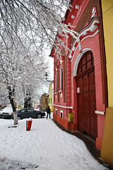 Red gate (Raoul Pop) Tags: street trees winter house snow architecture canon buildings gate flickr seasons branches arts structures historic sidewalk romania snowfall transilvania medias canoneos5d googlephotos pubrp