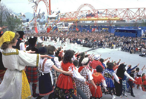 Festivities on the steps of the Expo Centre during the Invite the world ceremony on May 02, 1985, one year before the exposition was to open