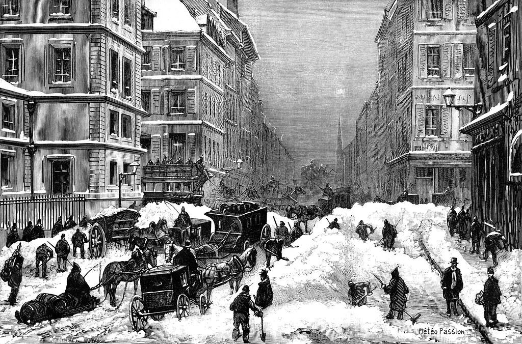 rue de Paris ensevelie sous la neige le 14 décembre 1879