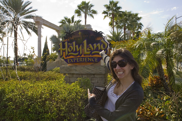 K is excited to be at the HOLY LAND EXPERIENCE