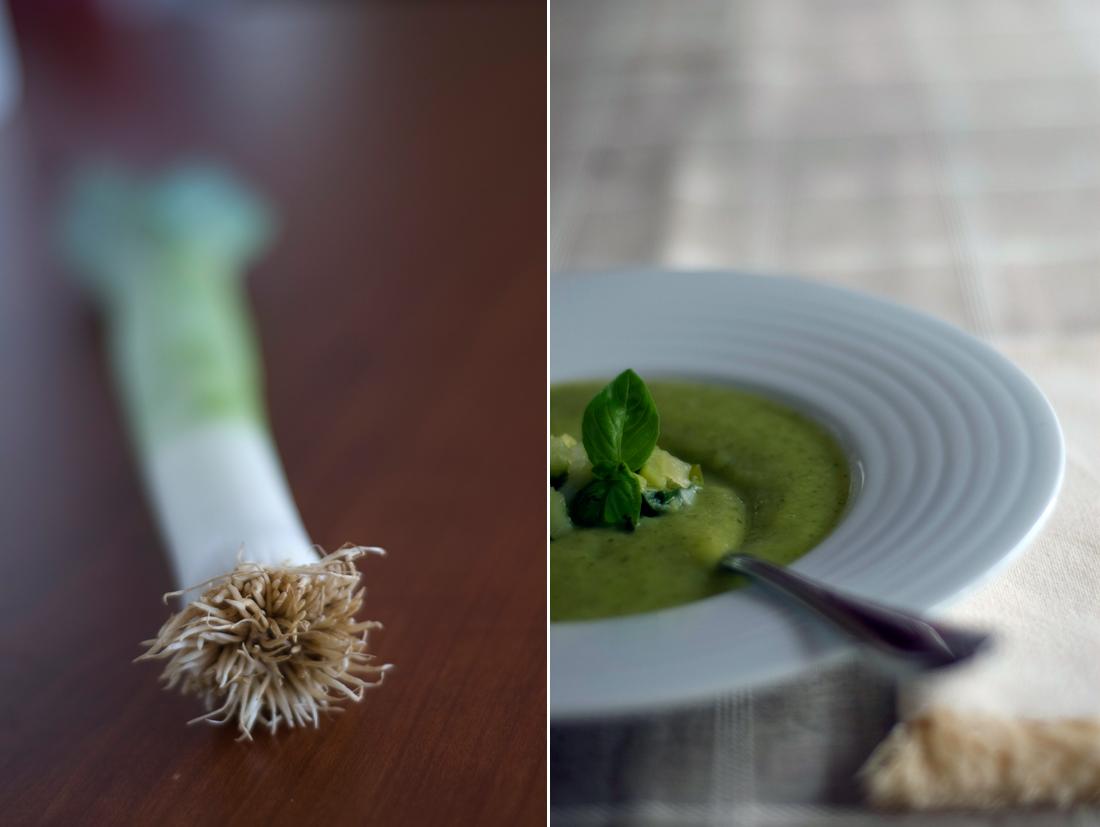 Sopa de alho francês e curgete