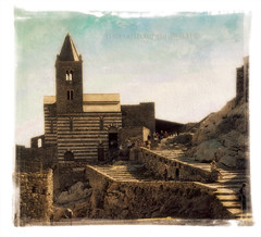 Vintage San Pietro in Portovenere (in eva vae) Tags: old italy panorama church wall photoshop canon vintage rocks warm eva italia framed postcard liguria medieval belltower canvas processing cape