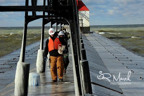 Pier workers