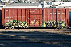 (everkamp) Tags: seattle railroad graffiti washington trains freight bnsf boxcars rollingstock railart tbv benching kamit seekz