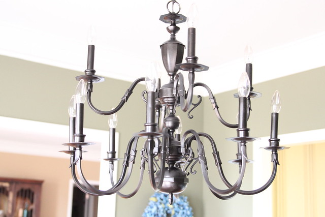 spraypainted dining room light fixture