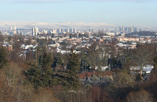 Glasgow Panorama in Winter with Campsie Fells