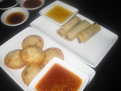 Prawn toast  & Chicken & black pepper spring roll