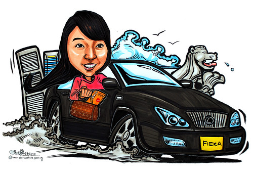 lady caricature driving Lexus