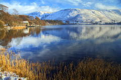 Ullswater reflections (Jo_Krazy) Tags: blue trees sky lake snow mountains water canon reeds jetty boathouse hdr ullswater 60d