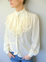 Victorian Style Creamy Flounced Lace Jabot Blouse Front Left (mondas66) Tags: ruffles lace silk ascot blouse poet romantic elegant ornate lacy silky dainty prim frilly elegance jabot ruffle demure blouses silken frills frill ruffled flouncy flounce lacework frilled flounces frilling frillings ictorian befrilled