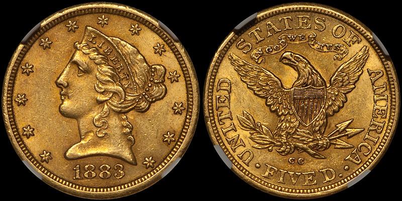1883-CC $5.00 NGC MS60