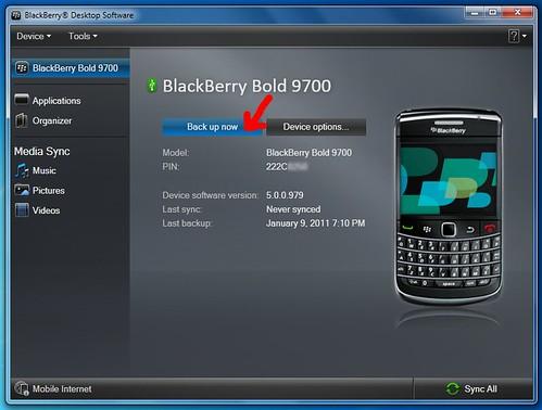 Backup your BlackBerry