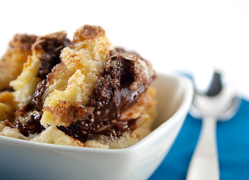 Raspberry Nutella Bread Pudding
