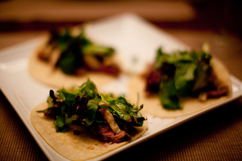 Sesame Steak Tacos with Shiitake Mushrooms, Cilantro and Asian Green Salad