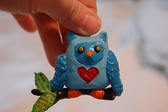 a birthday owl for a wise old friend (sharna11) Tags: christmas blue red love leaves woodland heart handmade critter branches valentine ornament owl wise sculpey dictionary 40thbirthday blueandred owlet owlie wiseoldowl tackyglue