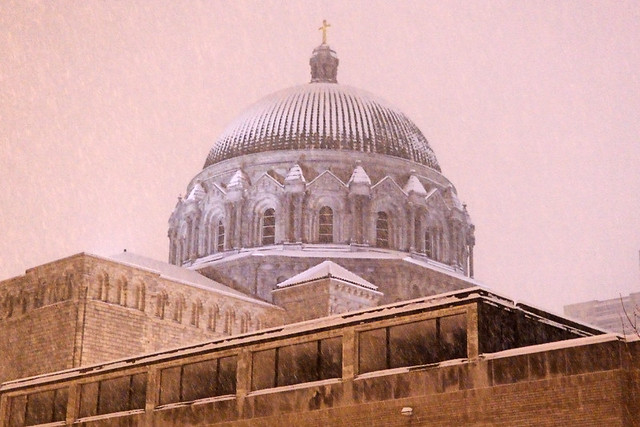 Cathedral Basilica of Saint Louis, in Saint Louis, Missouri, USA - view at night with snow