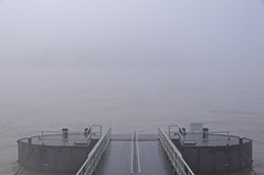 no line on the horizon (Cybergabi) Tags: winter mist cold fog river rotterdam jetty symmetry hazy maas centered