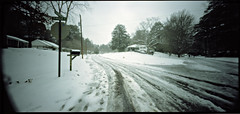 Snowpocalypse (Blake Burton) Tags: road atlanta winter snow cold film ice weather georgia holga kodak pinhole medium format portra wpc 160nc snowpocalypse