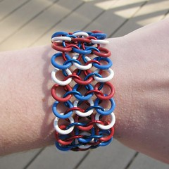 Red, White and Blue Rubber Chainmaille Bracelet