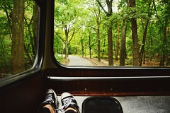 Come with me when you want to get lost... (catarinae) Tags: come with me when you want get lost say yes no name feet shoes window bus travel forest green deutschland germany berlin