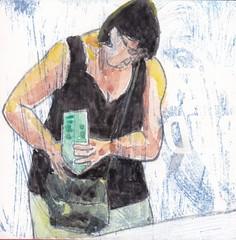 # 270 (26-09-2016) (h e r m a n) Tags: herman illustratie tekening bock oosterhout zwembad 10x10cm 3651tekenevent tegeltje drawing illustration karton carton cardboard lezer lezen reading read reader book boek