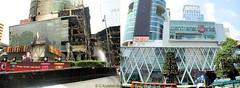 Central World Plaza on the left during the Red Shirt riots in 2010 and on the right 2013 after rebuilding, Rama 1 road, Pathumwan District, Bangkok, Thailand. (samurai2565) Tags: pathumwan erawanshrine hardrockcafe siamsquare centralworldplaza mbk gaysorn mahboonkrong bangkok thailand bigc phayathairoad gateway jimthompsonhouse chulalongkornuniversity ratchaprasong royalbangkoksportsclub chitlom rama1road lumphinipark sampengmarket khlongthommarket chinatown skytrain citypillarshrine bobaemarket